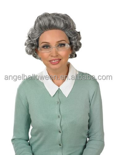 Grey curly gran granny old lady women wig and glasses teacher ladies fancy dress FW2107