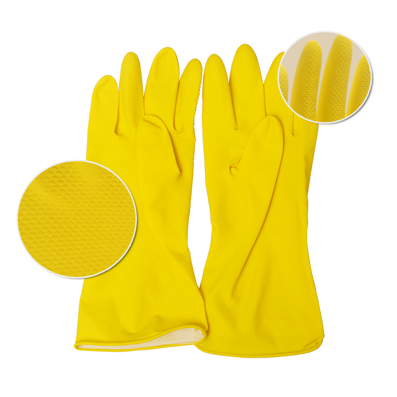 Cotton flocklined household gloves Printed logo household latex gloves