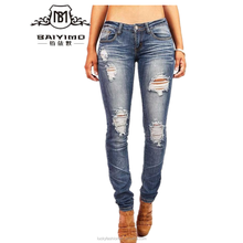 2016 Baiyimo latest hot selling women denim low price jeans made in china