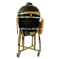Large 22 inch black round shape ceramic kamado grill