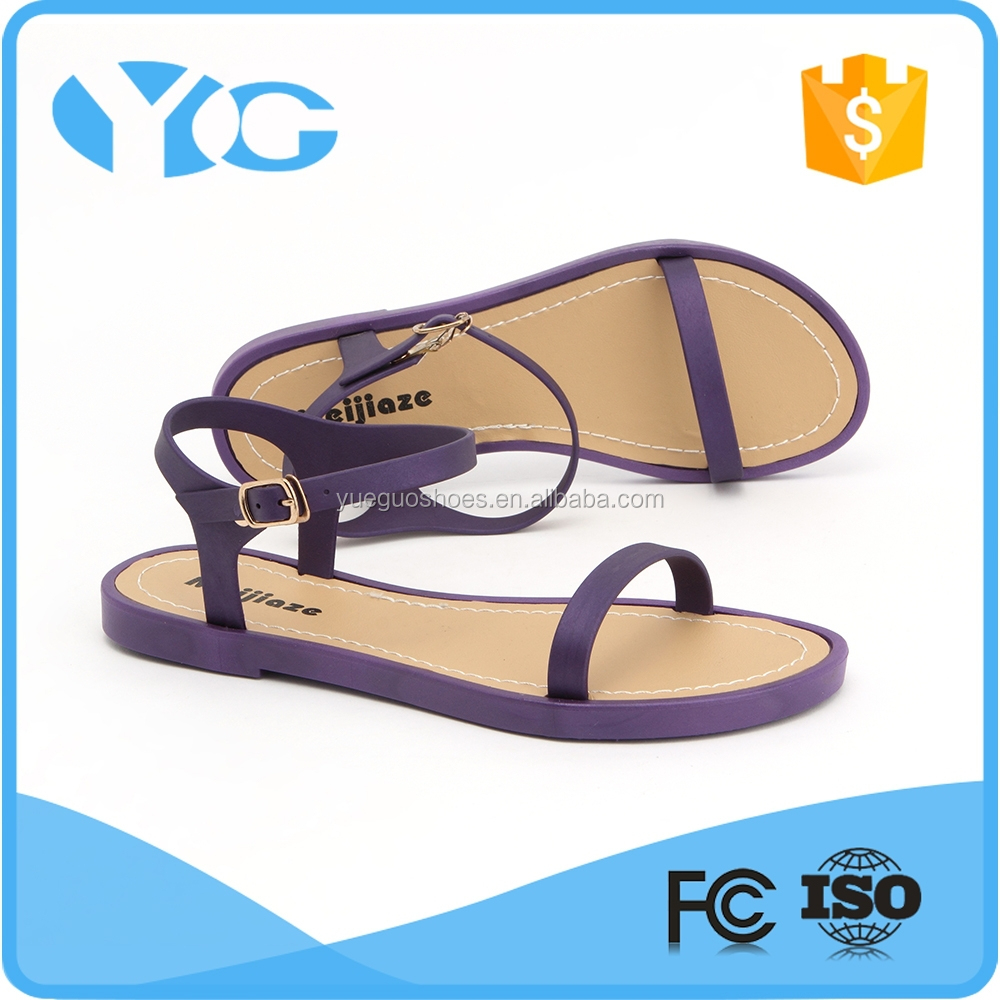 Toe post jelly sandal comfort fancy girls sandals new design fashion flat summer sandal 2016