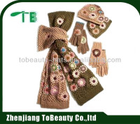 designer scarf and hat set,cute scarf hat gloves sets