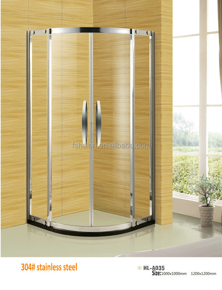 Cheap Foshan Stainless Steel Shower Room Tempered Glass Shower Enclosure ARC Shower Door NO. HL-035A