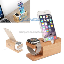 2 in 1 USB Charger charging data sync Dock Stand Bamboo Docking Station for iPhone and for smart watch