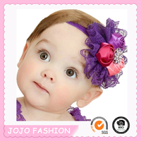Wholesale harmless girls elastic lace front satin rose flower baby headband/