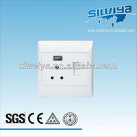 1 gang electric wall switch with USB,LED double socket and switch