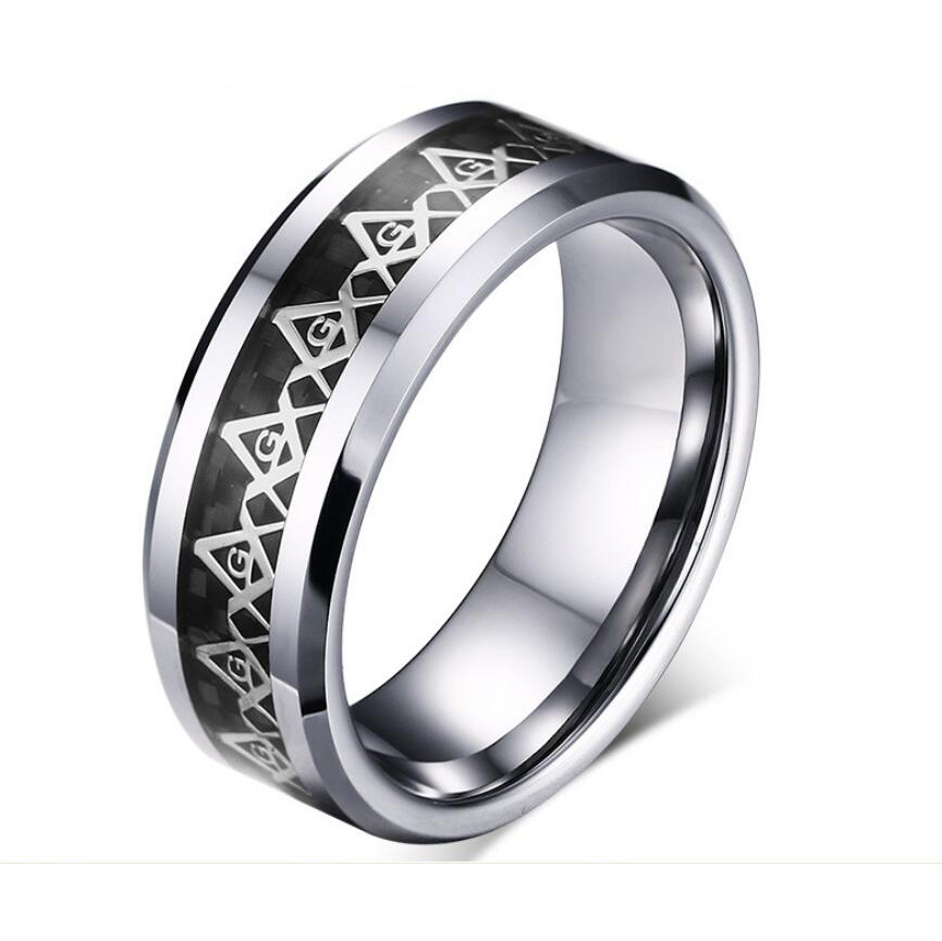 Size 7-13 Ring Anel Aneis 8mm Masonic Silver Men's Band Rings Freemason Tungsten Steel Fashion <strong>Jewelry</strong>