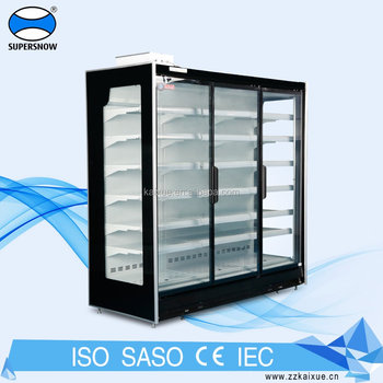 Remote compressor glass door chiller for supermarket and convenience store