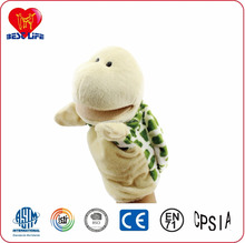 2017 Fancy high quality animal set hand puppet of plush hippo/cow/deer/lion/monkey/donkey/rabbit/frog