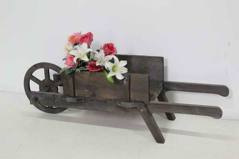 Vintage Country Wooden Decorative Wheelbarrow Planter for Gardens