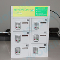 LED light Restaurant coin operated Cell Phone Charging Station lockers