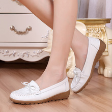 ZH0409L Fashion design bowknot wedge pump shoes for women natural leather comfortable mother shoes