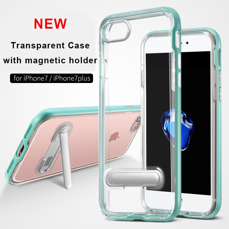 Colorful PC Frame Transparent Clear TPU Case 2 in 1 with Magnetic Support for iPhone 7 Mobile Phone Case
