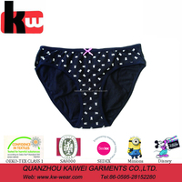 black with print panty for girl .little girl's brief ,girl brief with bow ,cheap underwear for girl