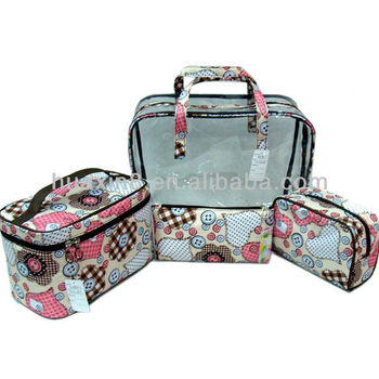 HX1310296 good quality PU leather with handle lady's cosmetic bags