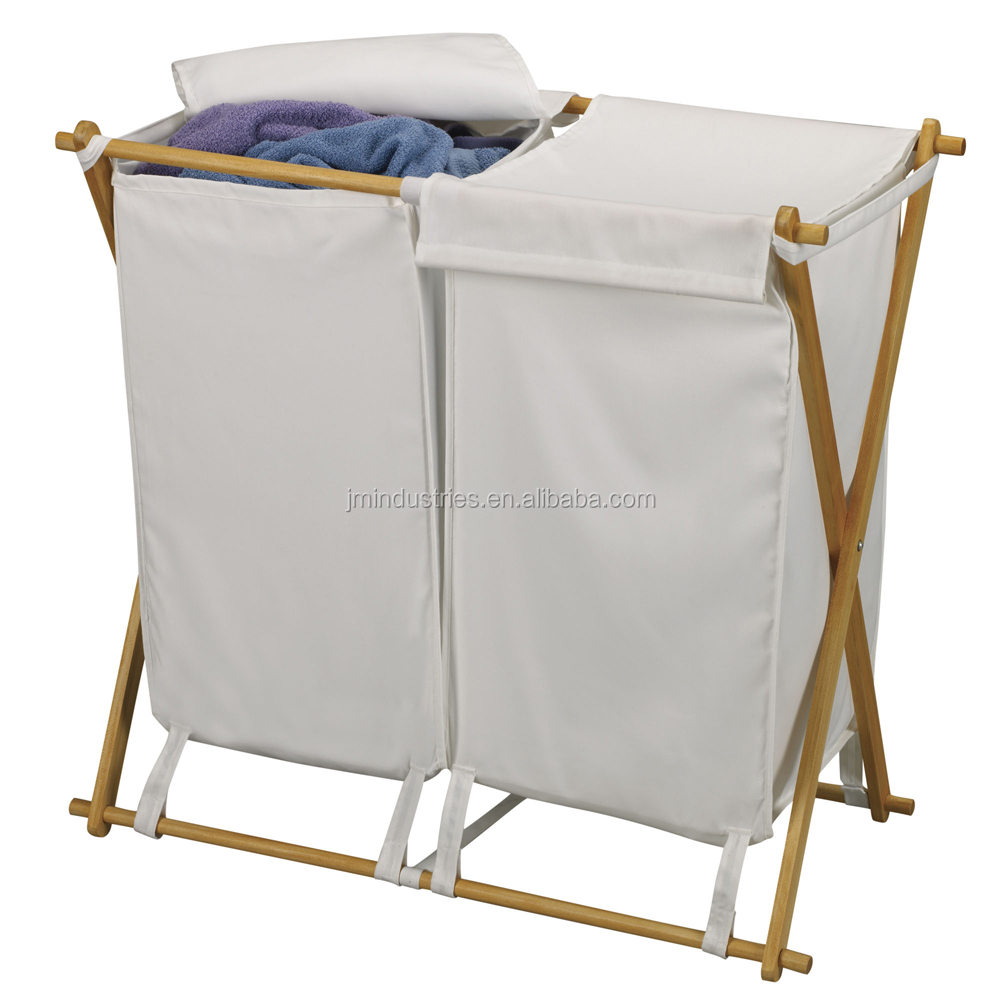durable 2 canvas bag laundry sorter with shirt hanger/laundry sation 2 bag with hanging bar