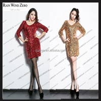 sexy night dress for women stage costume long sleeve sequin dress