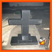 Black granite cross shape tombstones