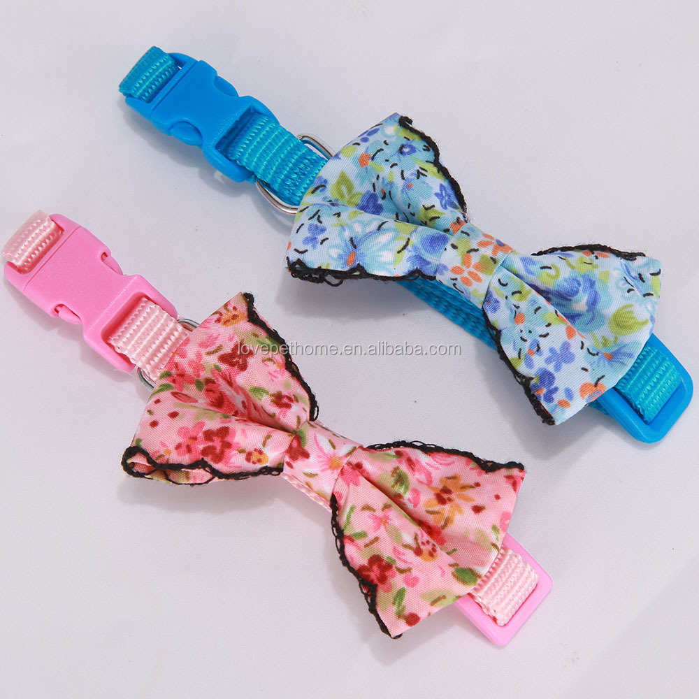 Fabric bowknot dog accessories luxury best selling dog products dog collar buckle