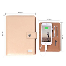 2017 New detachable powerbank leather notebook with 6 ring binder leather notebook powerbank 6000mAh