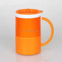 2015 New design double walled plastic thermos coffee mug