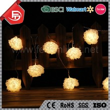 TZFEITIAN 2016 new design battery operated decorative yarn flower ball christmas light set
