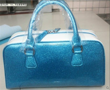 Shinny synthetic leather 0.8mm woman bags glitter pvc fabric