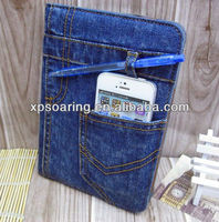 high quality jeans leather case for ipad mini, for ipad mini jean pouch