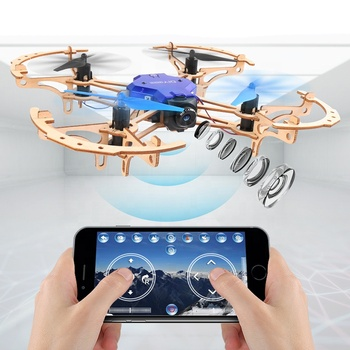 2019 trendy 2.4g handmade mini RC DIY wooden drone with WiFi camera