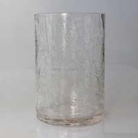 Handblown ice crack drinking water tumbler glass set China customized glassware producer