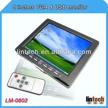 2014 new 8 inch touch screen car pillow tft lcd monitor with 2 AV inputs