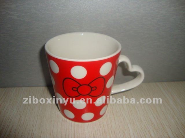 320ML white coffee mug with Heart Shape handle for Lover gift
