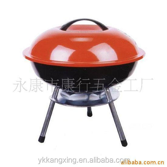 Mini portable outdoor vertical apple-design charcoal barbecue grill with red lid of(kx-8004)