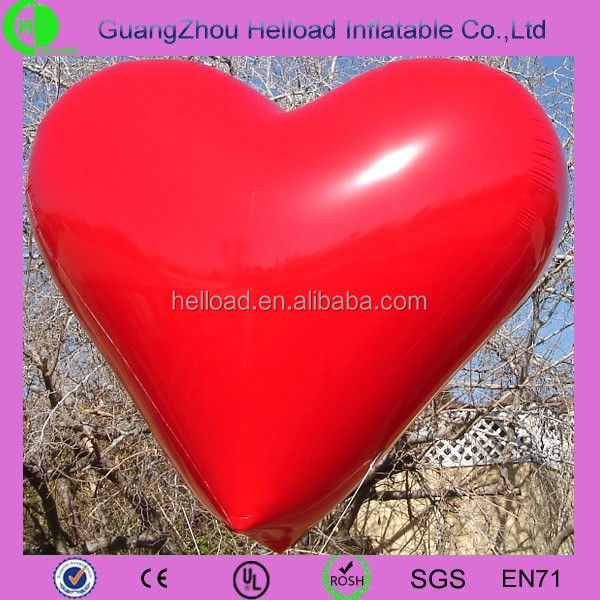 With LED light large red inflatable heart for large-scale advertisement or audaciously showing love