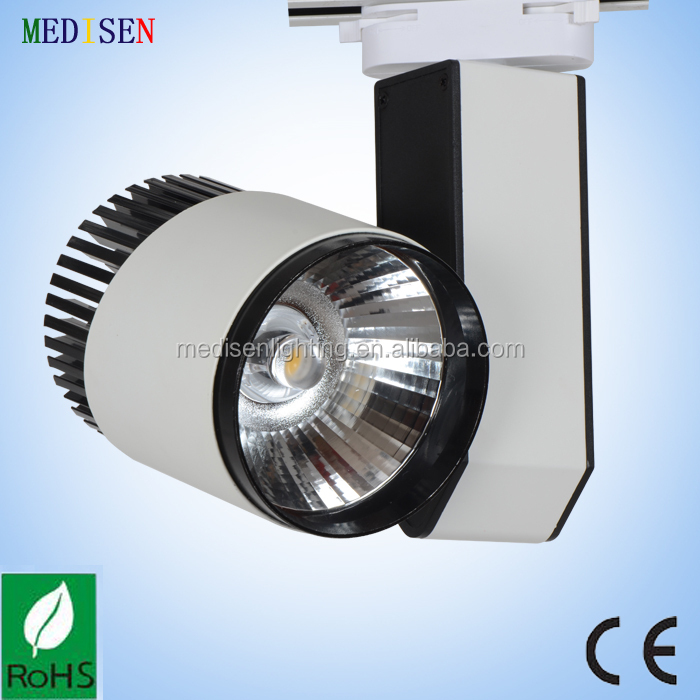 high quality products dimmable led track lighting fixtures 30w COB with white body 2 lines 3 lines 4 lines base