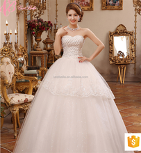 Taobao Off Shoulder White Satin Crystal Wedding Factory Dresses Under 100
