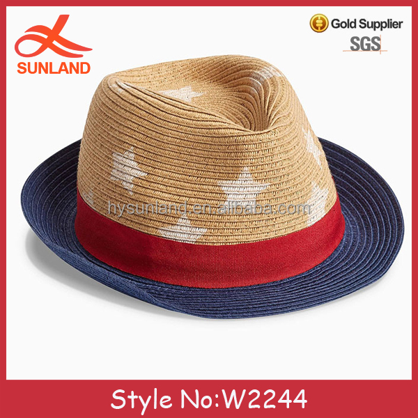 W2244 New cowboy new style boys infant straw fedora straw cowboy hat