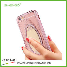 Mobile Phone Accessories Factory Fancy Soft TPU Mobile Phone Cases Luxury Diamond Beautiful Mirror Cellphone Case for iPhone 7