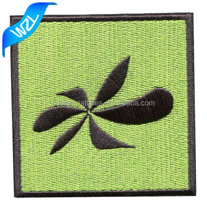 High quality fresh green laser cut tracksuit 3D logo embroidered adhesive patch