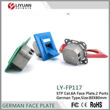 LY-FP117 Cat6A STP Network RJ45 Faceplate With Shutter
