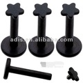 Black anodized internal thread labret studs