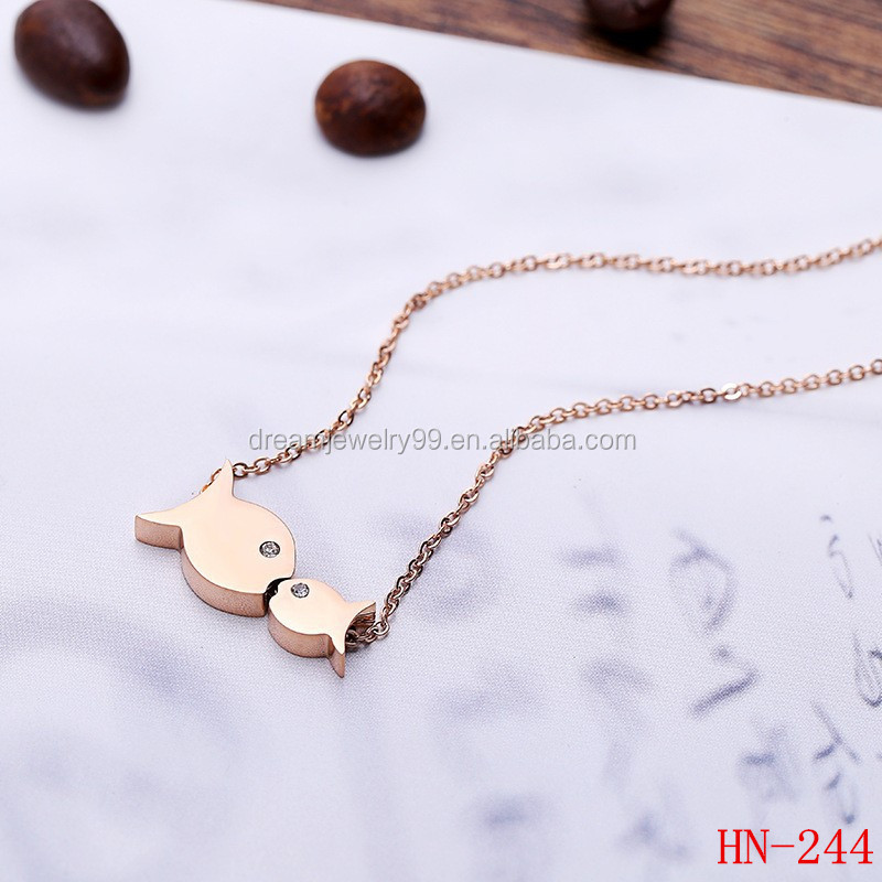 Lovely stainless steel jewelry double kiss fish animal gold necklace love gift