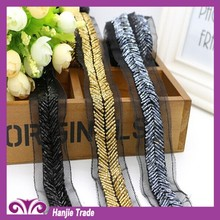 Wholesale fashion beaded lace trimming pearl DIY trim for bridal/garment decoration