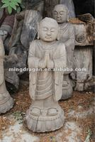 Chinese antique wooden carved buddha head sculpture