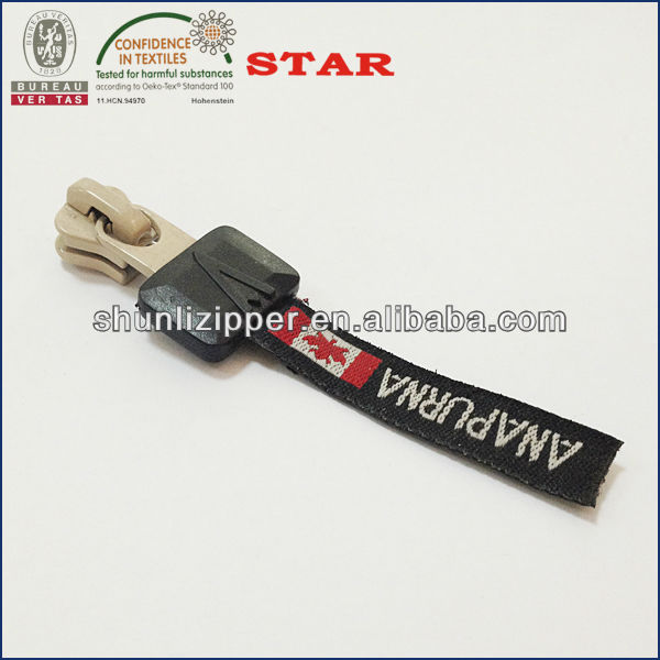 woven zipper pull with painted slider body for 5# plastic zipper