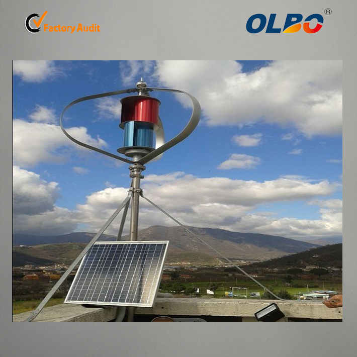 600W vertical axis maglev wind turbine solar wind hybrid power system on the roof for fatory use