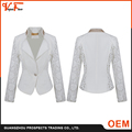Wholesale China clothes factory white woven lace formal ladies blazer designs