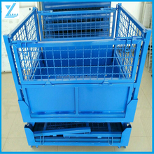 Heavy Duty Warehouse Use Wire Mesh Cage/ Container/ Metal Steel Pallet Box For Logistics