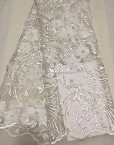 Bride wedding dress fabric 3d flower Lace Fabric with beads/embroidery French Lace TS109-5