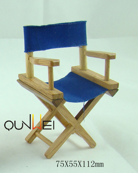 Dollhouse directors wooden chair blue 1:8 scale